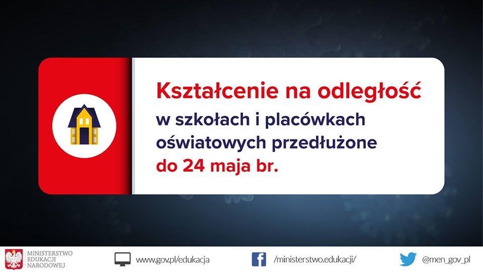 Kształcenie na odległość przedłużone do 26 kwietnia br.
